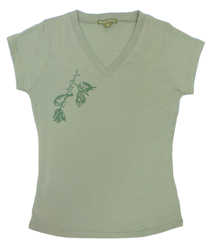 Ladies Merino Silver Eye Moss Tee