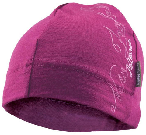 Merino Beanie: Magenta with NZ Script Design