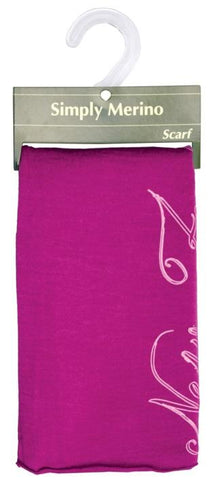 Merino Scarf: Magenta with NZ Script Design