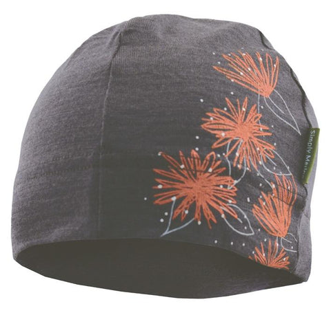Merino Beanie with Pohutukawa design