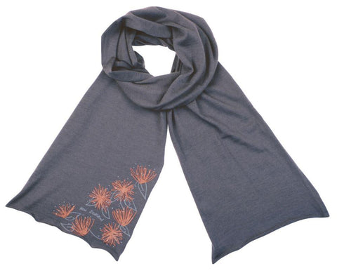 Merino Scarf : Black with Pohutukawa Design