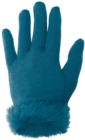 Rabbit Fur trim Merino Gloves