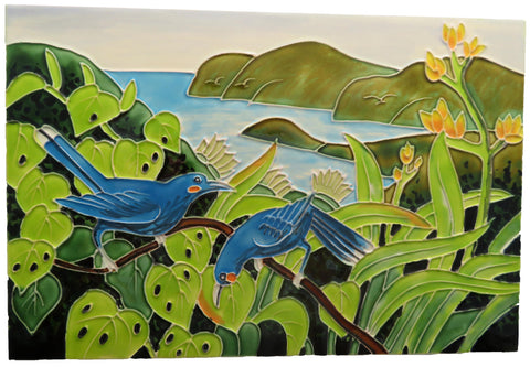 Ceramic Tile : Huia Birds in Trees