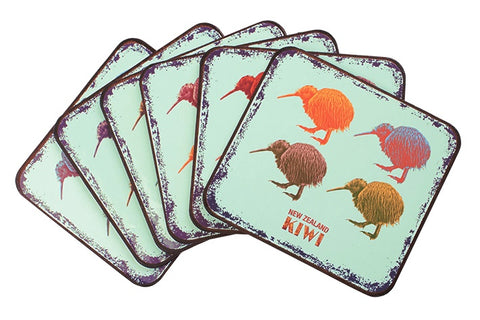 Vintage Coloured Kiwi Coaster Set