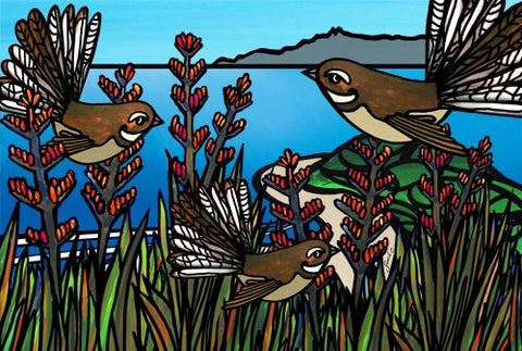 Sarah C Art Blocks : Fantail on Flax