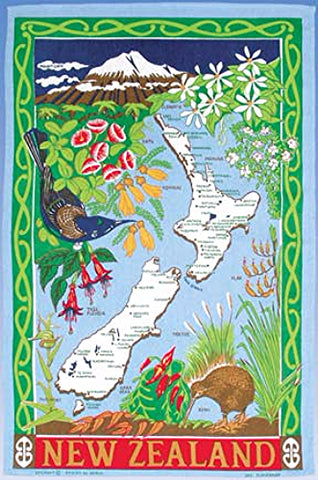 NZ Flower Map Tea Towel