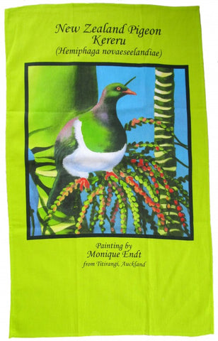 NZ Art Tea Towel - Kereru by Monique Endt