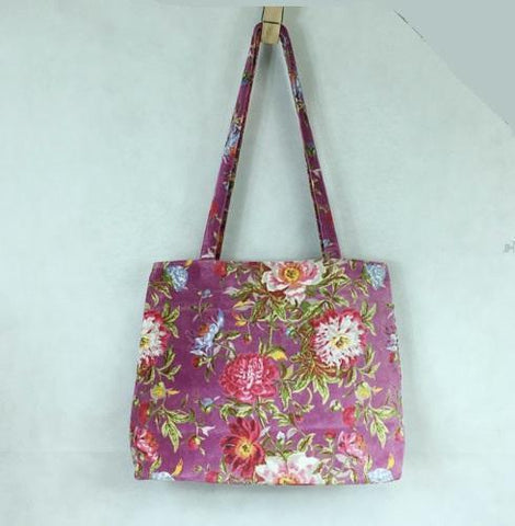 Large Velvet Tote Bag: Lilac