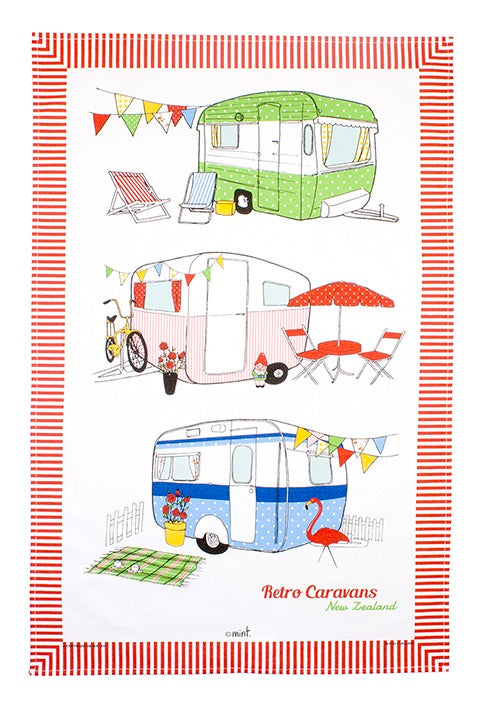 Retro Caravans Tea Towel