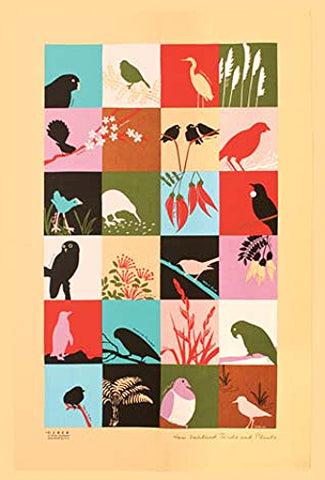NZ Birds & Plants Tea Towel