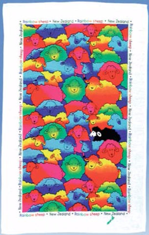 Rainbow Sheep Tea Towel