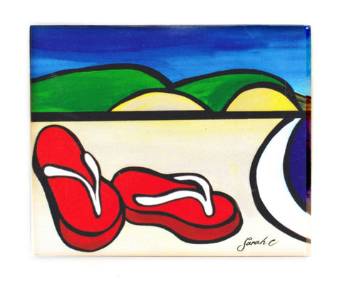 Sarah C Art Block Small: Red Jandals