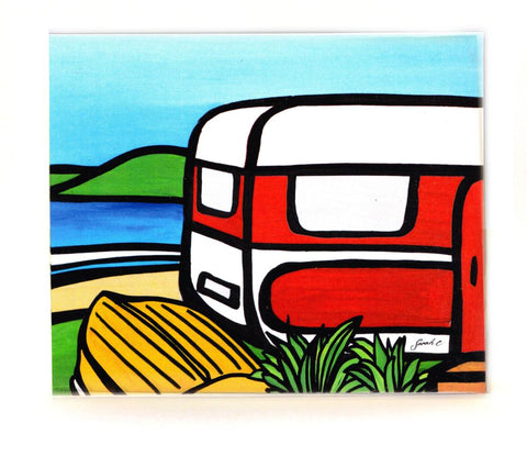 Sarah C Art Block : Caravan and Dinghy