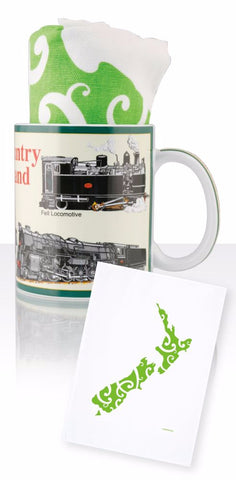 Steam Country NZ Ceramic Mug with Tea Towel