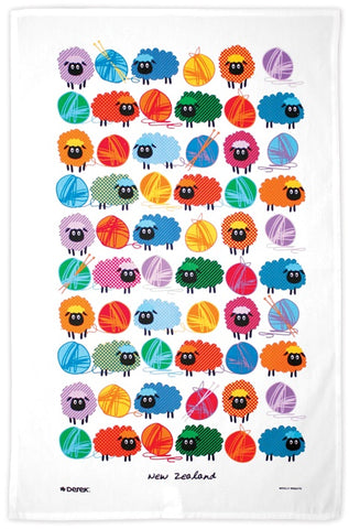 Wooly Bright Sheep Tea Towel