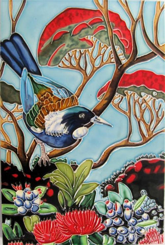 Ceramic Tile : Tui in Pohutukawa Tree