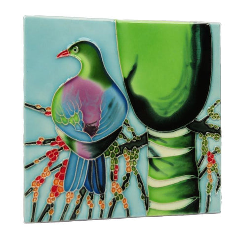 Ceramic Tile : Moniques Kereru with Nikau Palm