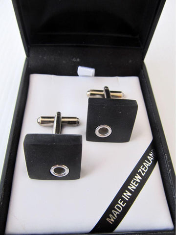 Square Basalt Cufflinks with Silver Detail