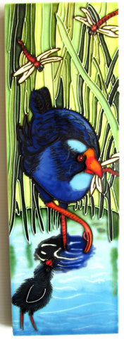 Ceramic Tile Pukeko and chick in water and Flax