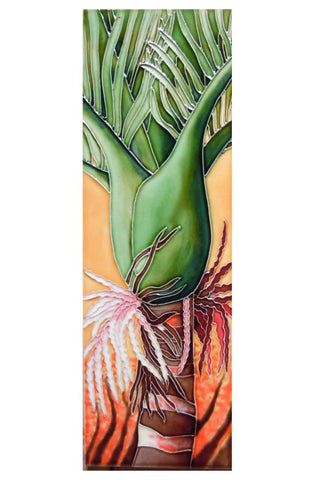 Ceramic Tile Nikau palm with flowers on an orange background