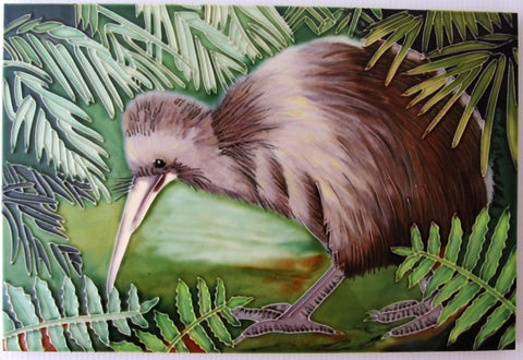 Large Ceramic Art Tile: Bettina's Kiwi