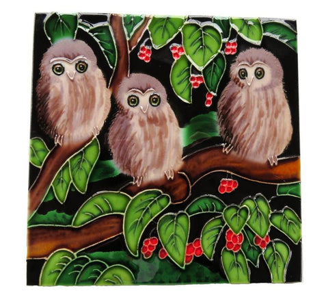 Ceramic Tile : Morepork Chicks in Puriri Tree