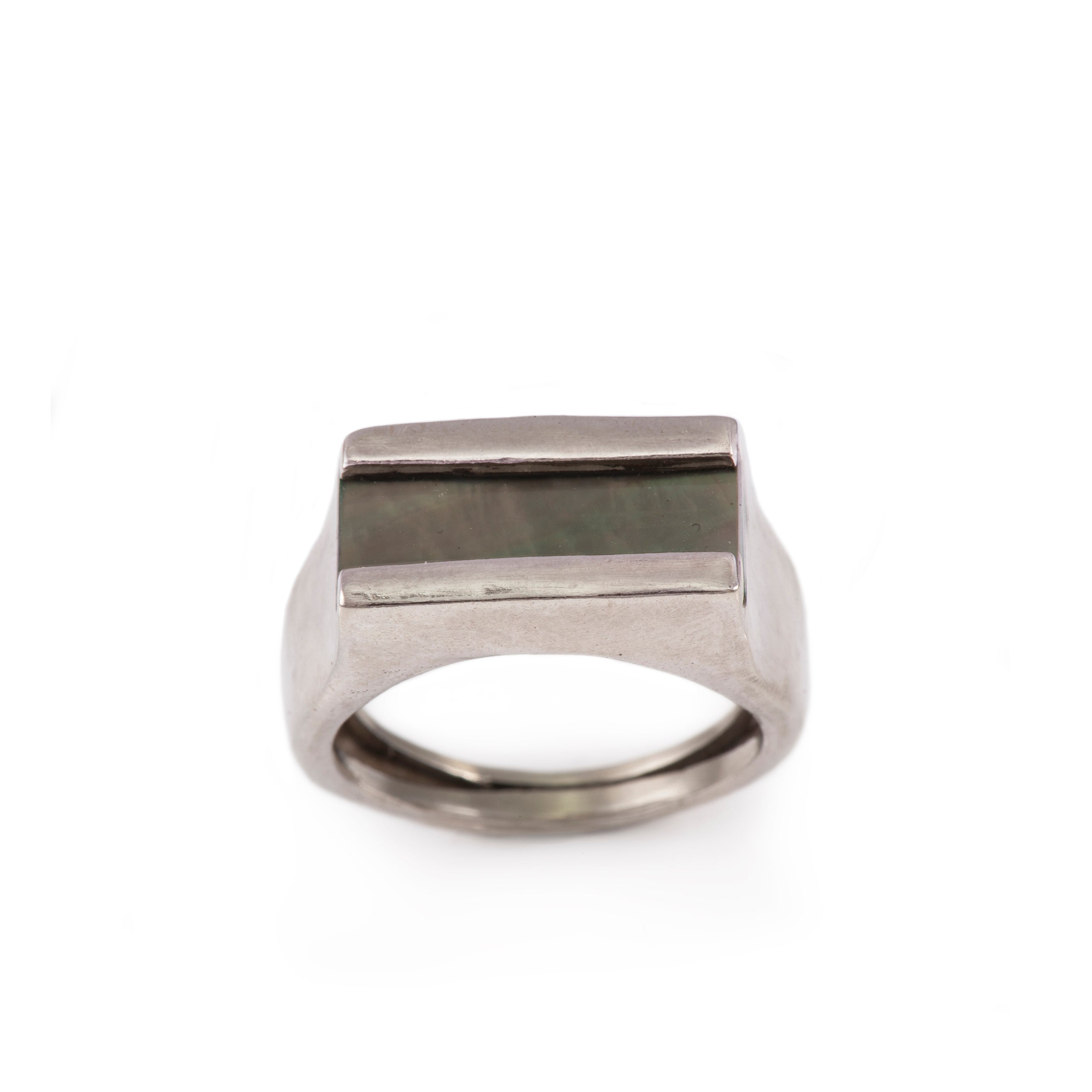 Black Mother of Pearl Inlay Ring