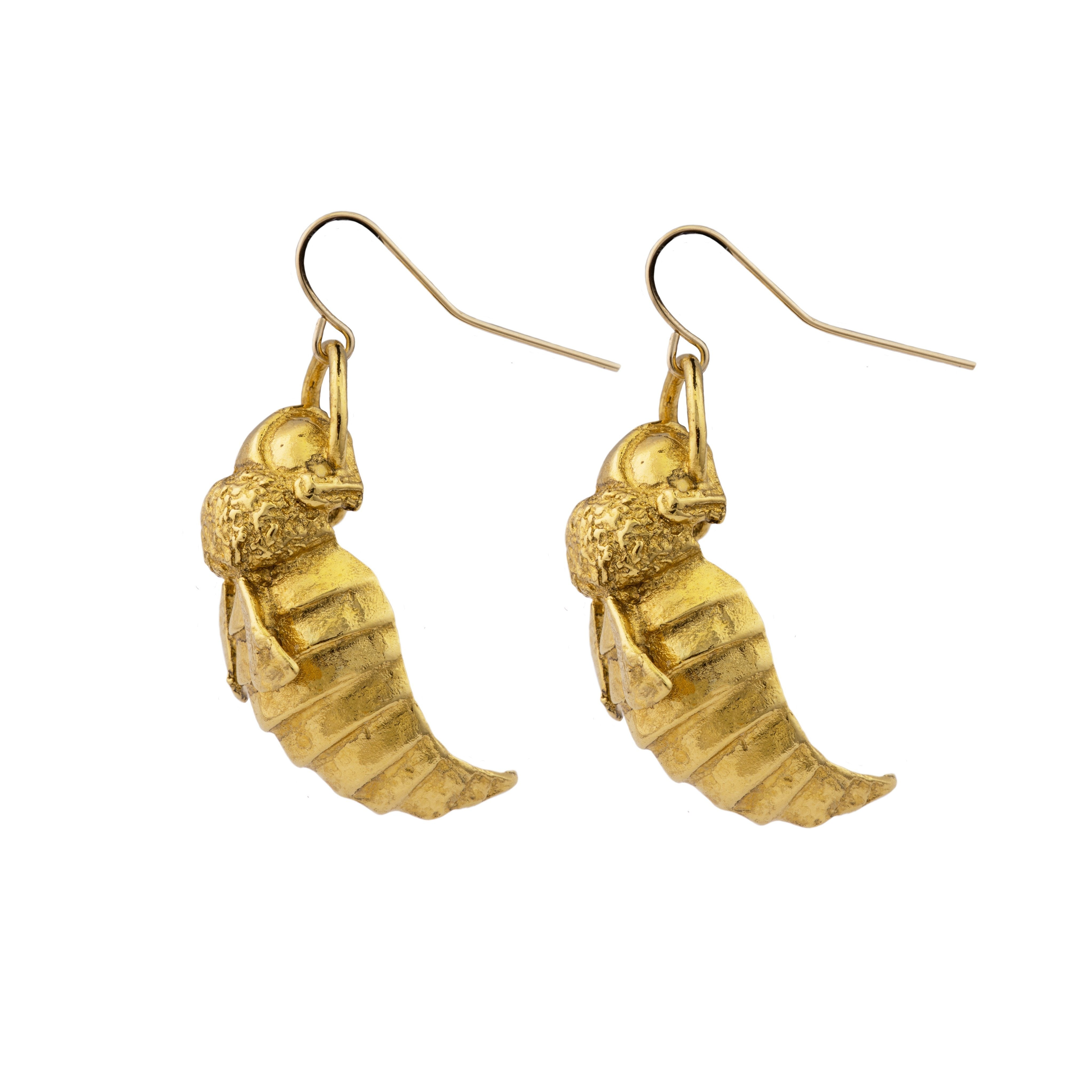 Gold-Plate Bumble Bee Earrings