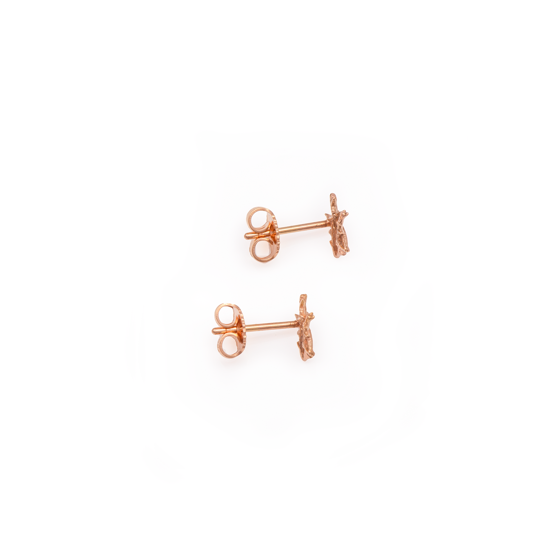 18K Rose Gold Thorn Star Stud Earrings