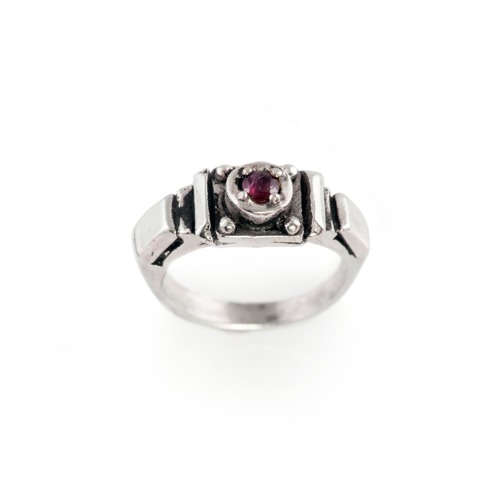 Ruby Art Deco Band Ring
