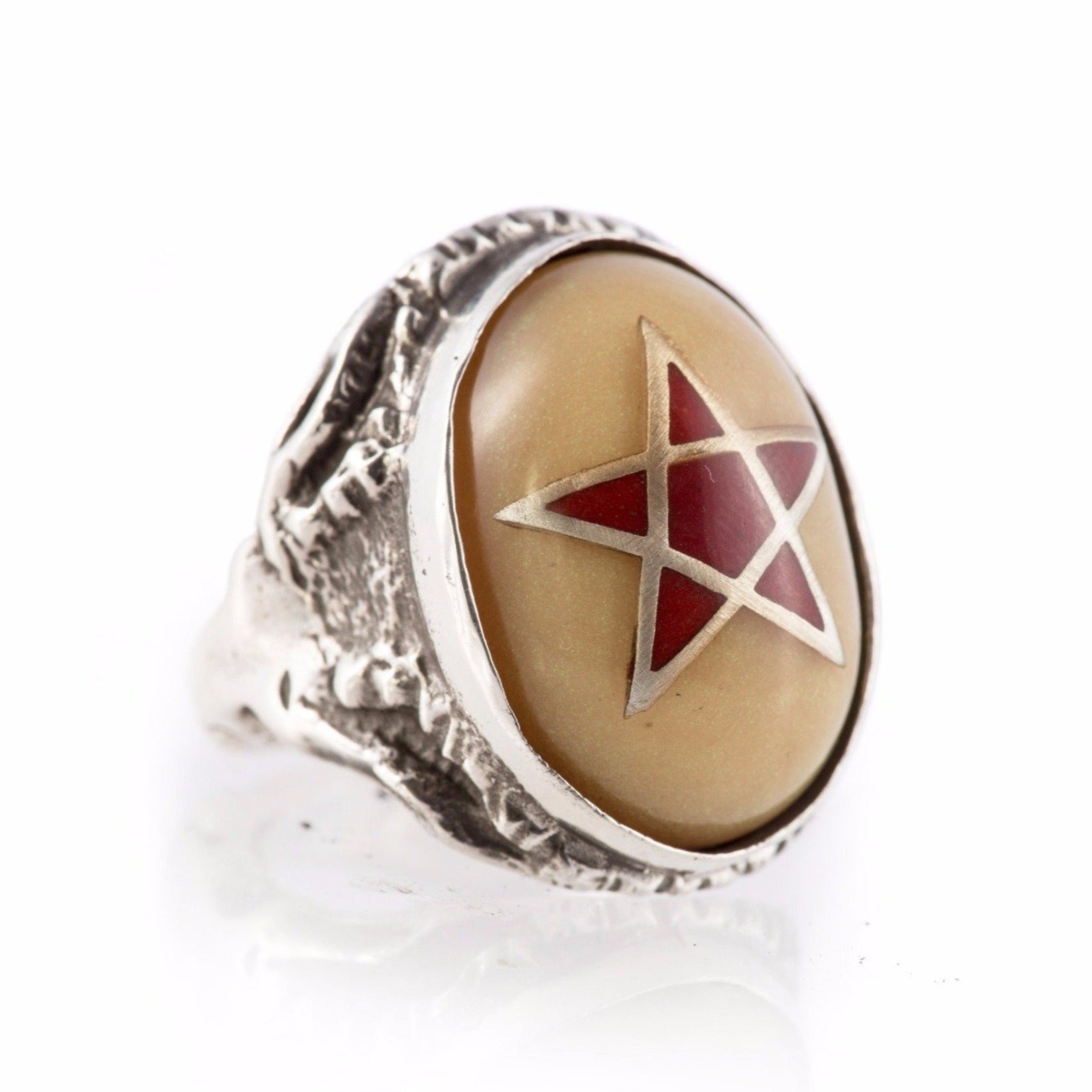 Harlequin Star Pearl Angel Heart Ring