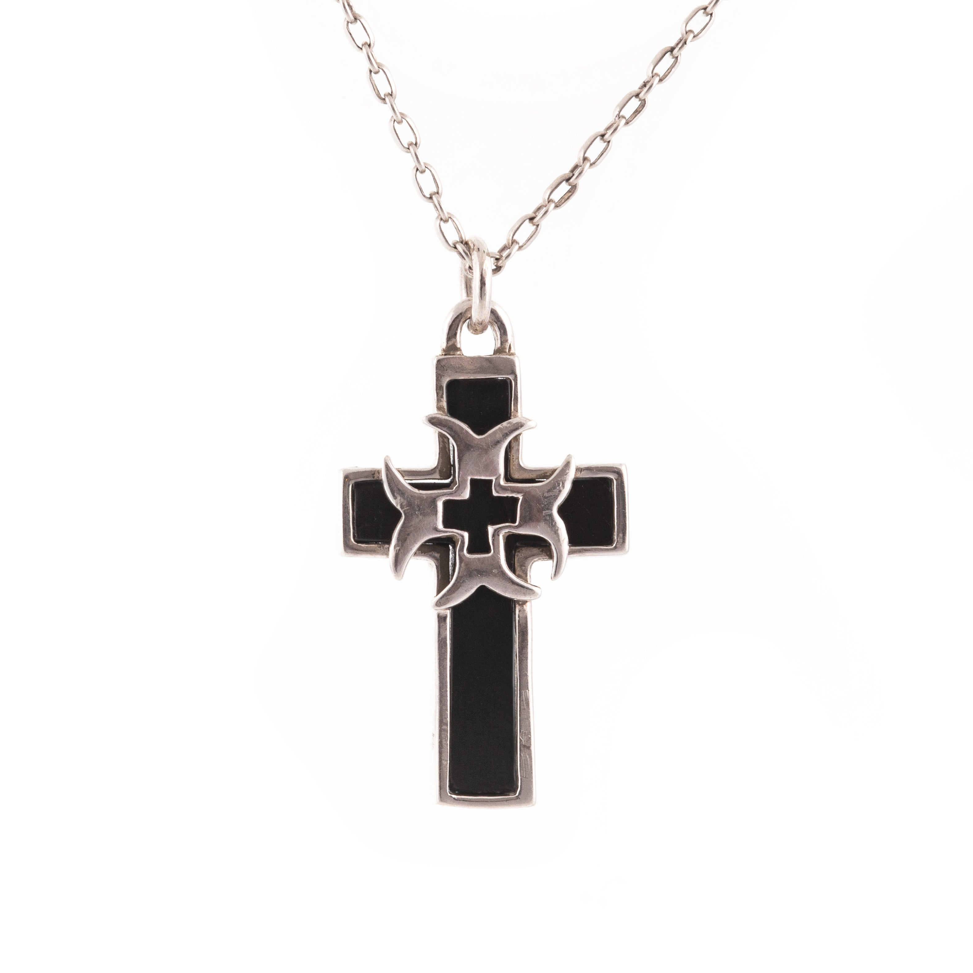 Black Onyx Crusader Cross Pendant