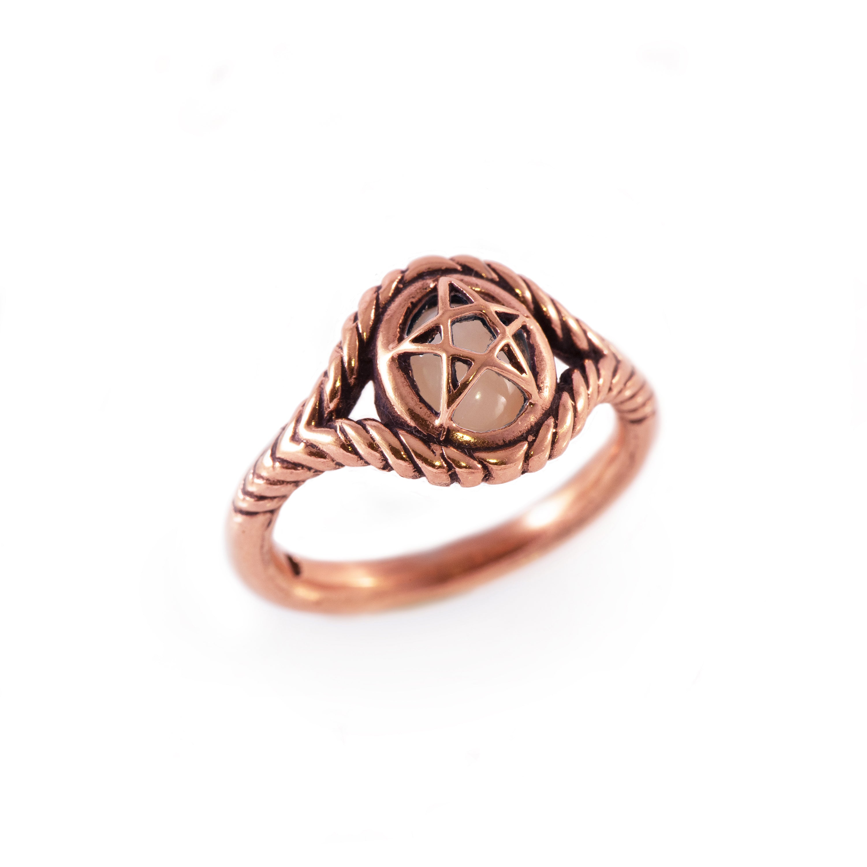 Pink Coral 10K Rose Gold Pagan Priestess Ring
