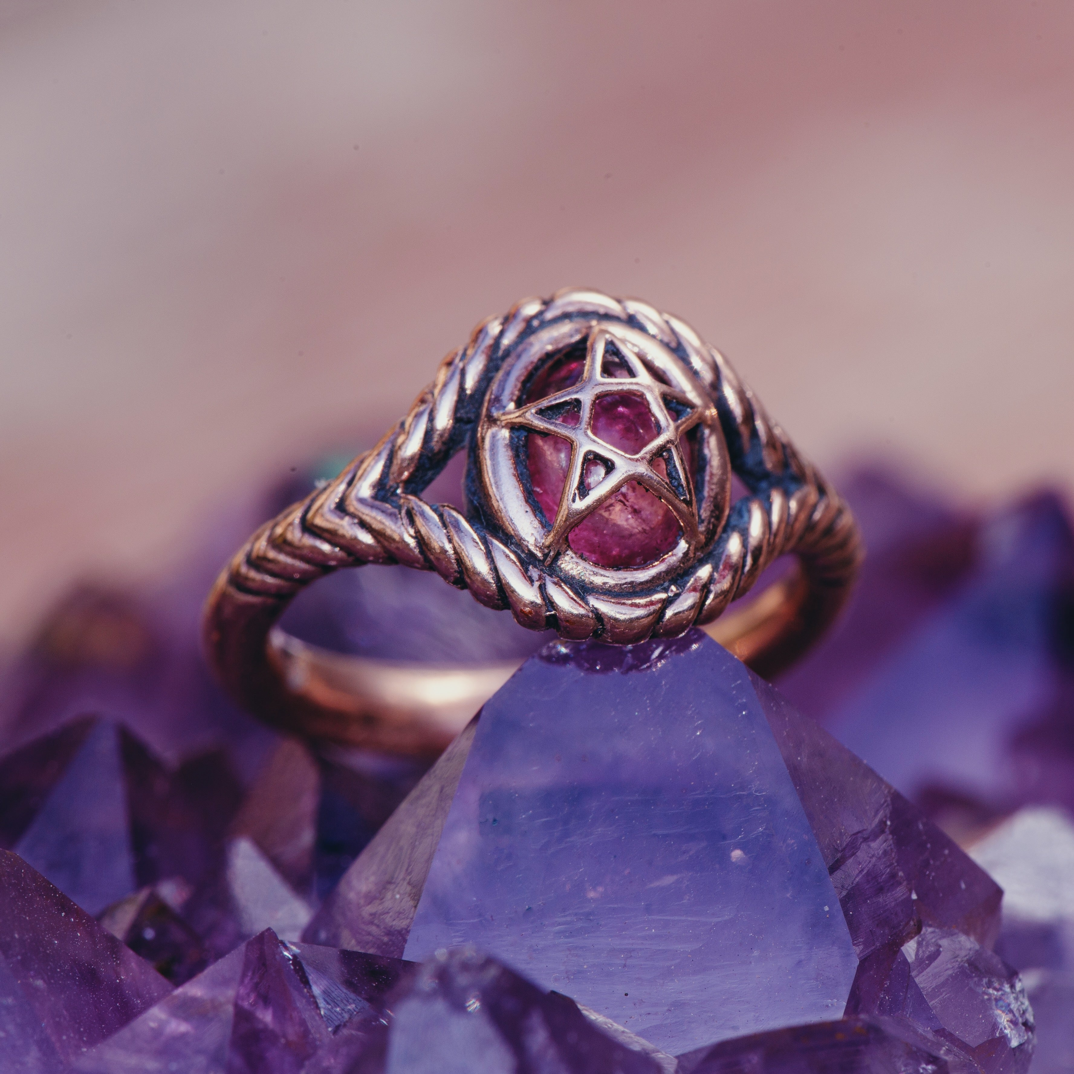 Turquoise 10K Rose Gold Pagan Priestess Ring