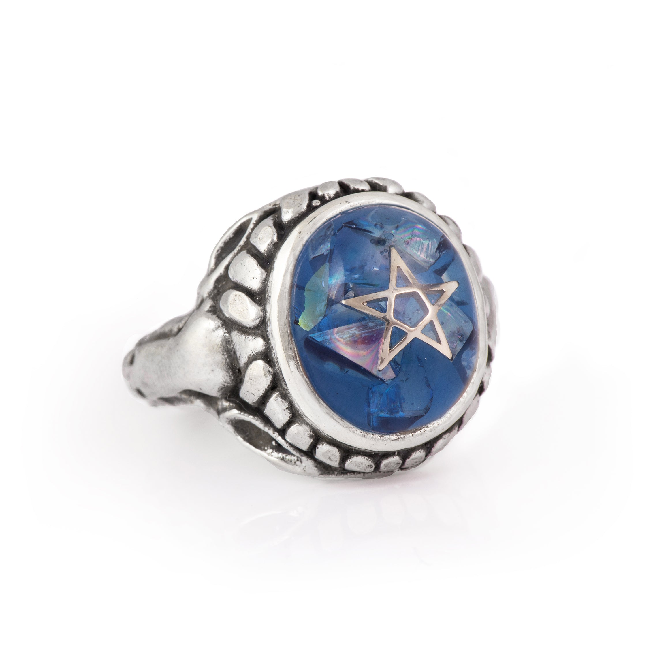 Crack Blue Baby Angel Heart Ring