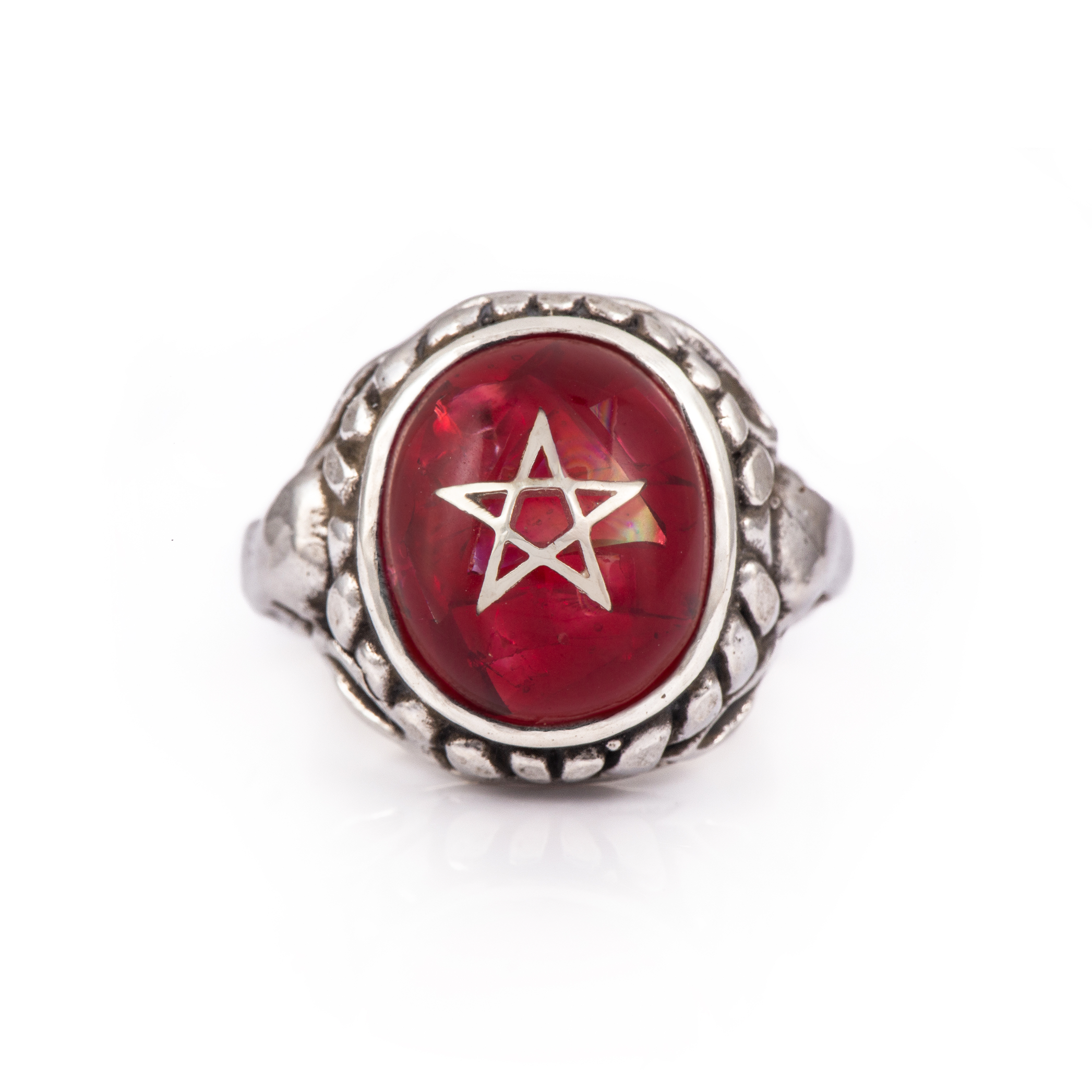 Crack Red Baby Angel Heart Ring