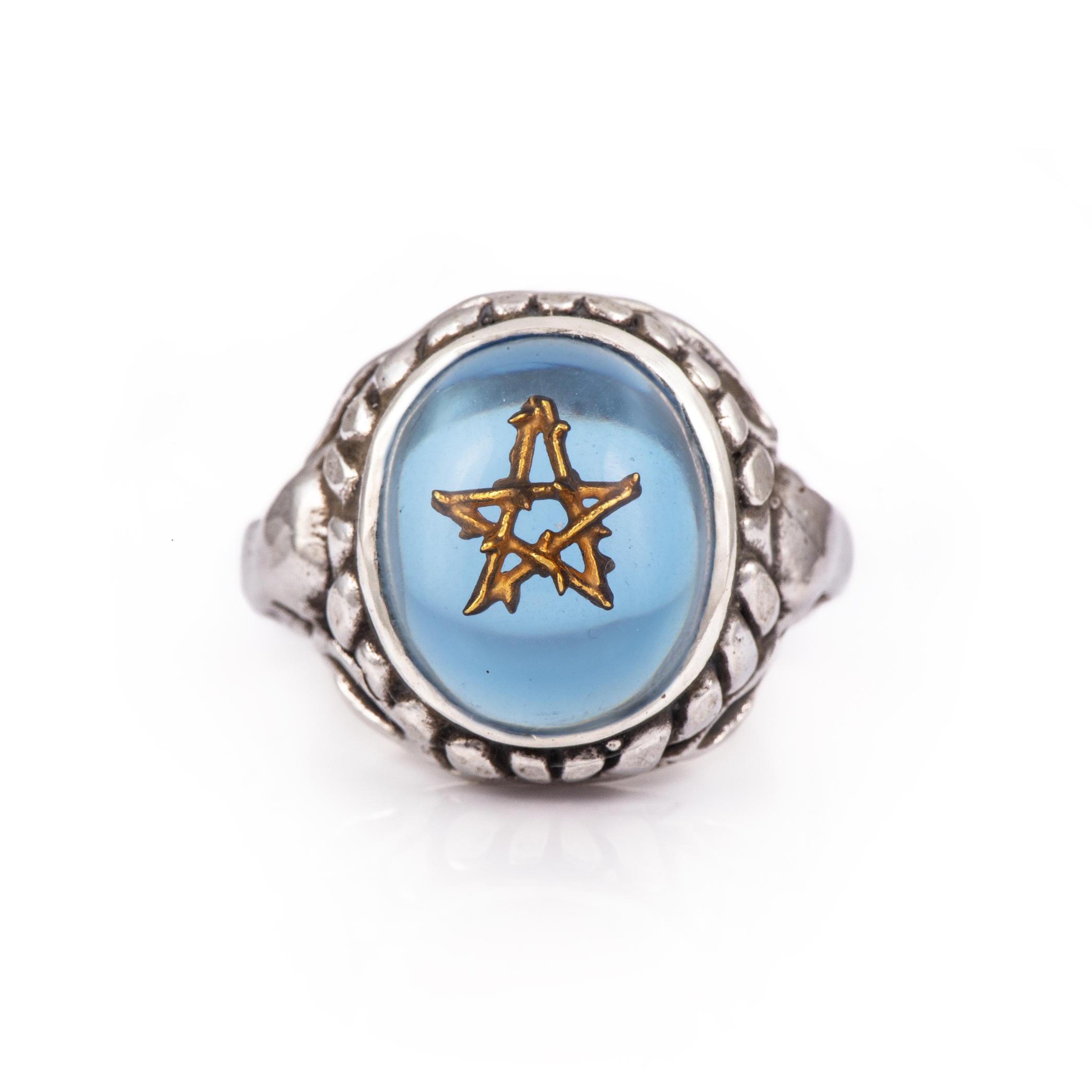 Water Blue 18K Gold Thorn Star Baby Angel Heart Ring