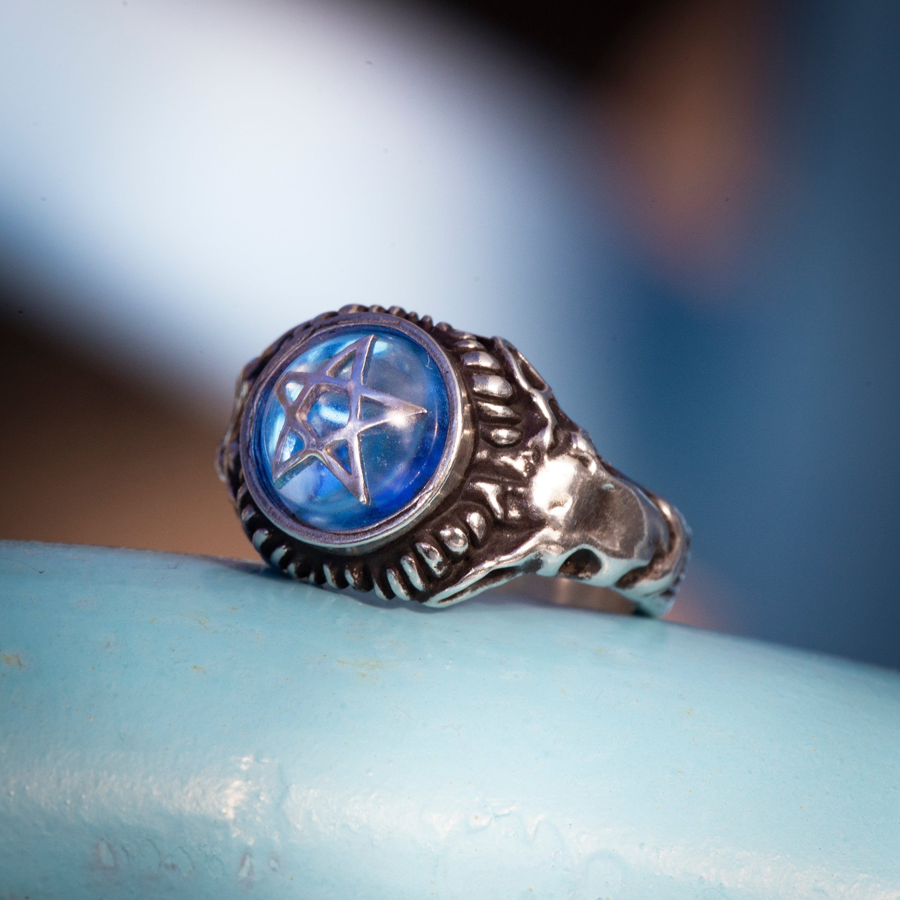 Water Blue Baby Devil Heart Ring