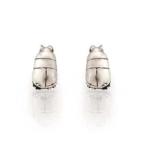 Silver Scarab Studs