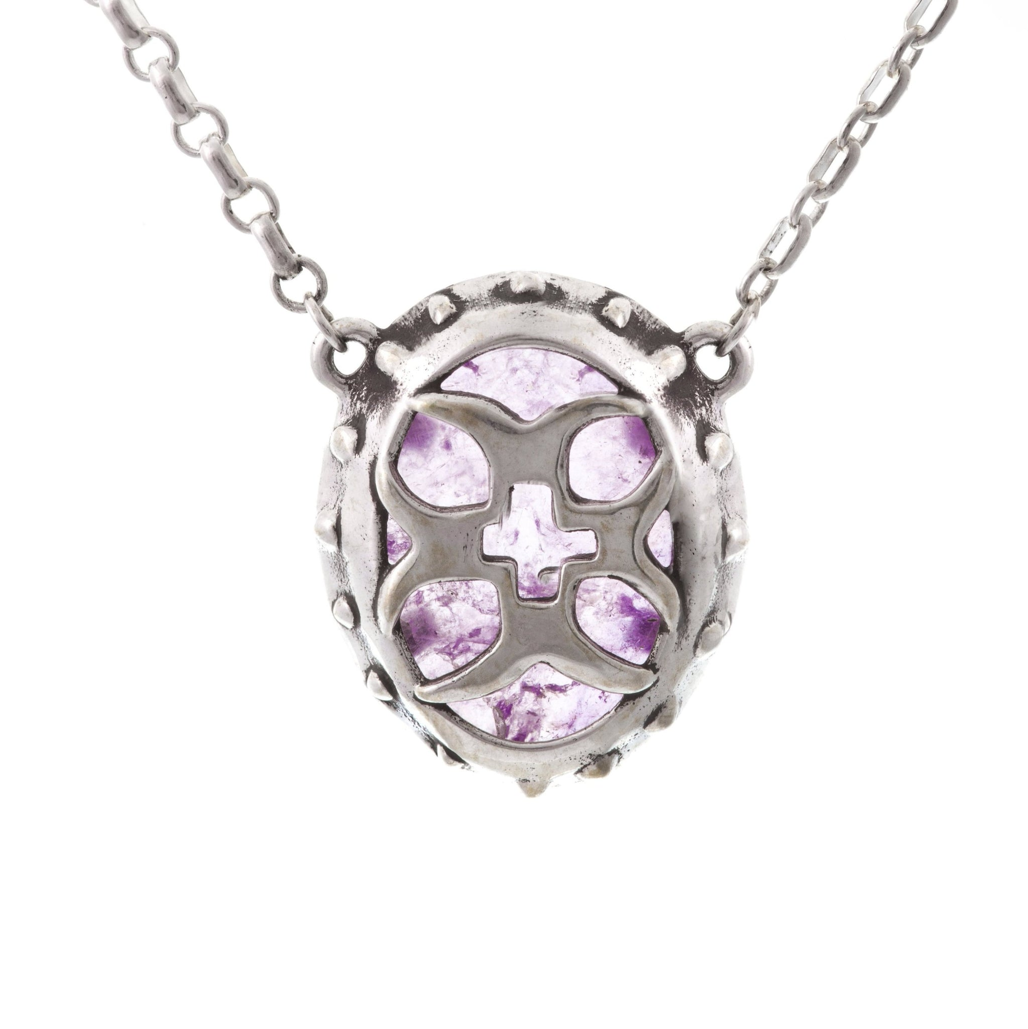 Amethyst Crusader Cross Shield Necklace