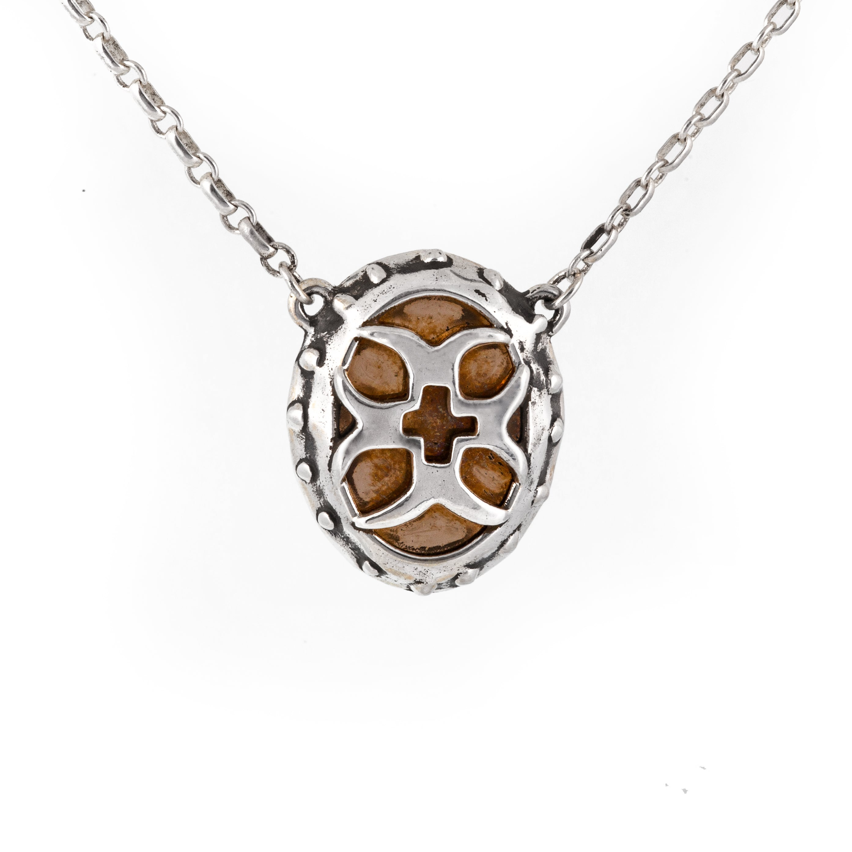 Bronze Crusader Cross Shield Necklace