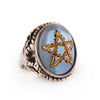 Golden Sky Blue Thorn Star Angel Heart Ring