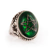 Green Thorn Star Angel Heart Ring