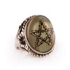 Pale Green Thorn Star Angel Heart Ring
