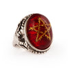 Golden Red Thorn Star Angel Heart Ring