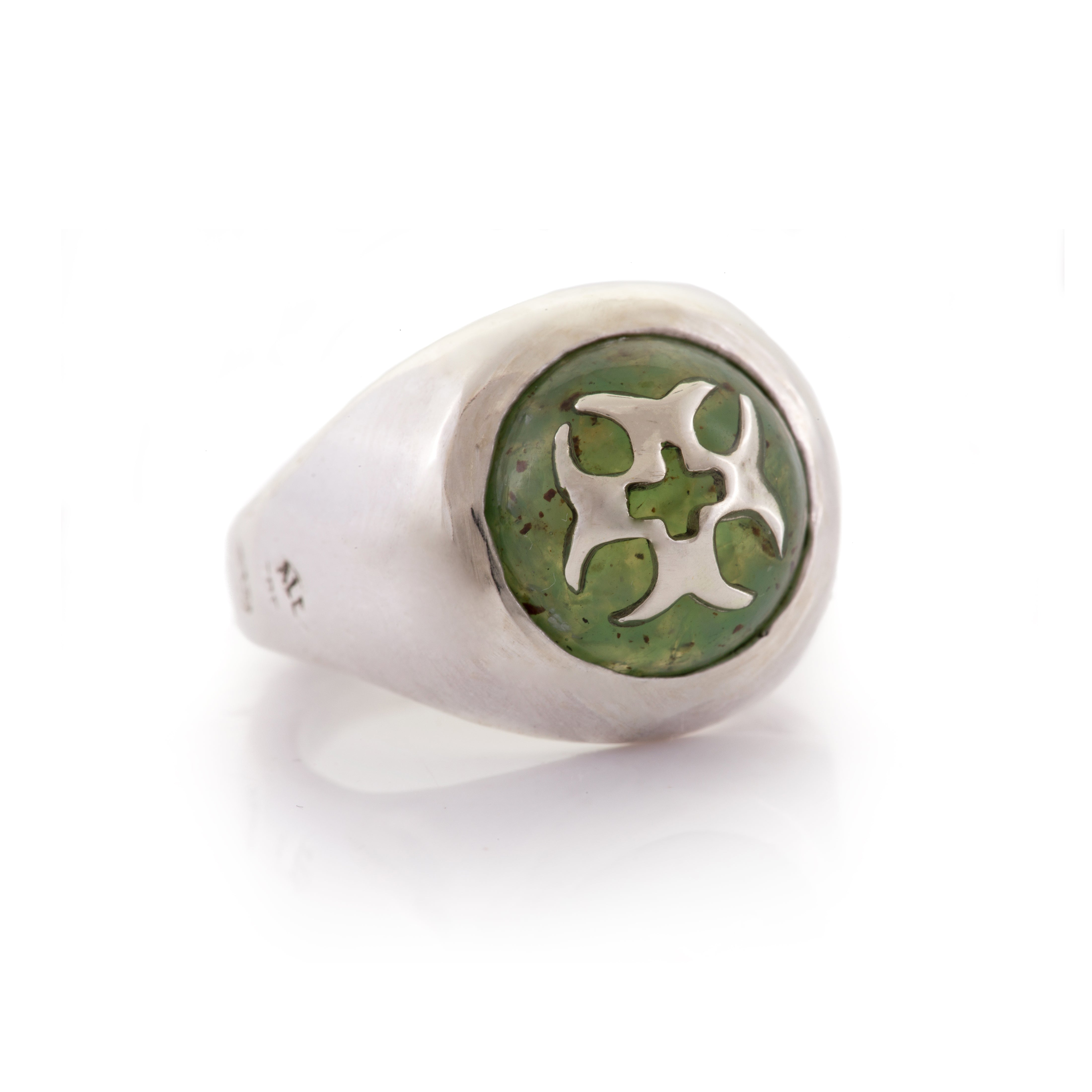 Chrysophrase Crusader Cross Holy Dome Ring