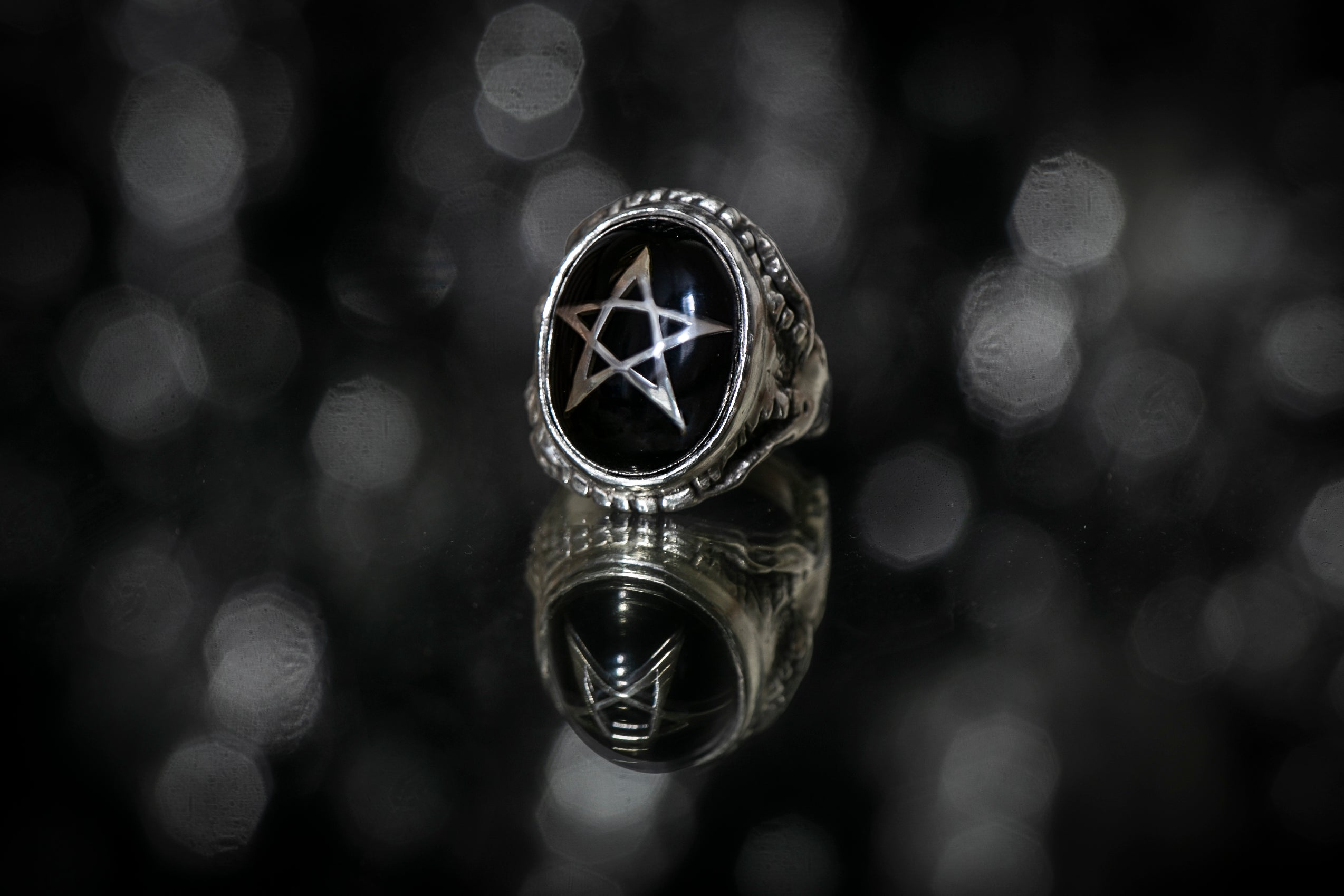 Cathedral Star Black Angel Heart Ring