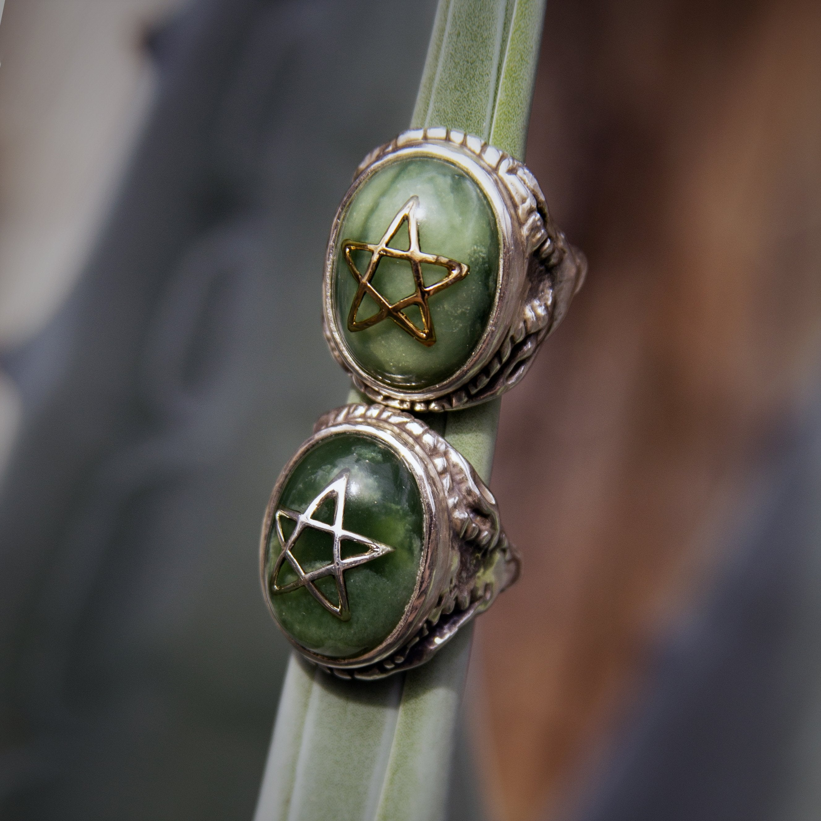 Ancient Jade 10K Star Angel Heart Ring