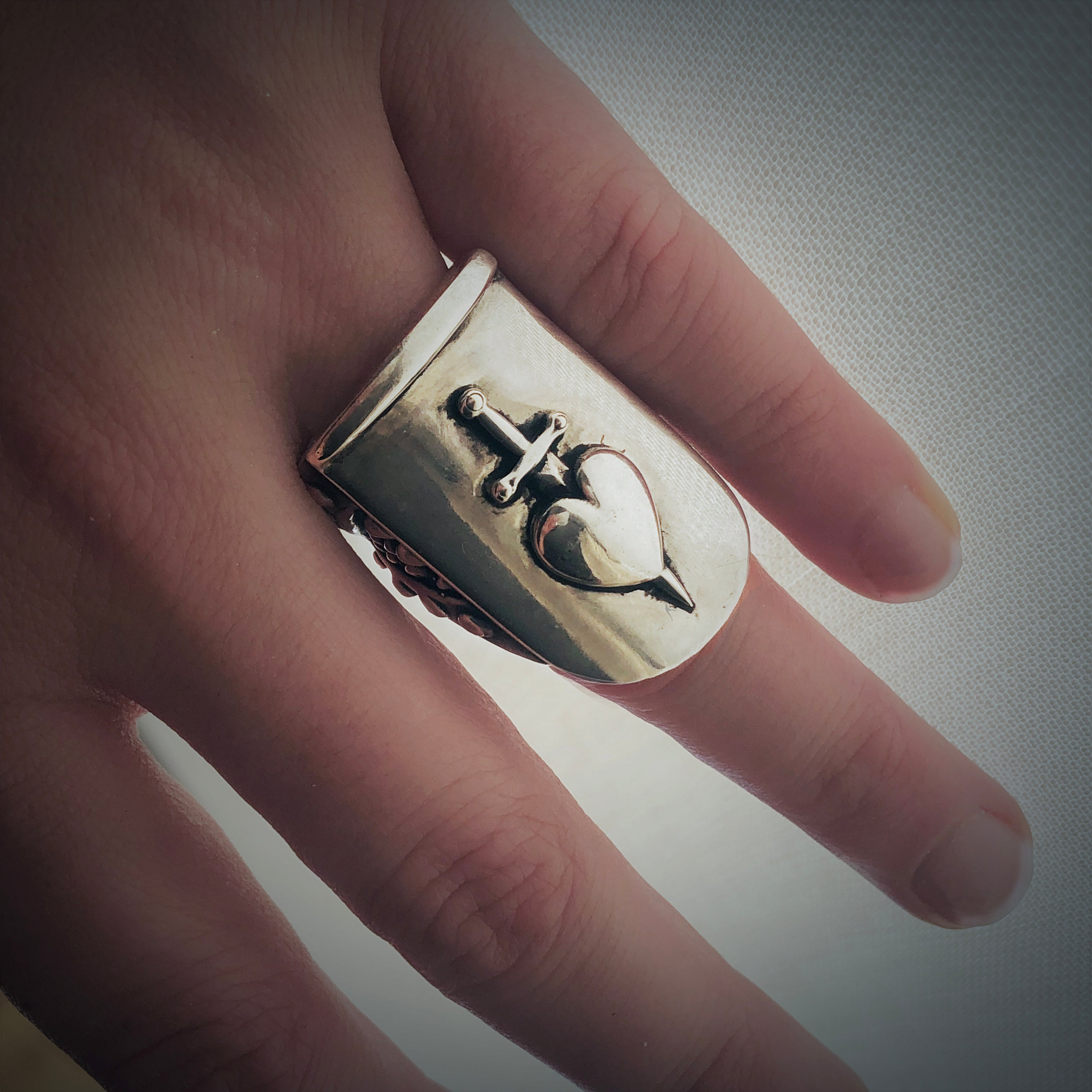 Sword-Pierced Heart Shield Ring