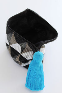 Glass Bead Clutch, Black Gray Diamond